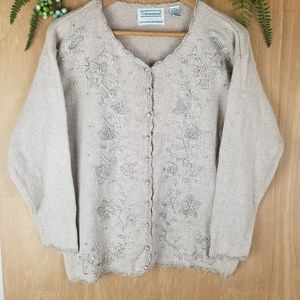🌼Vintage knit embroidered floral cardigan sweater